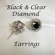 SALE Black Diamond and Clear Diamond Earrings 3 Carats - 14K White Gold