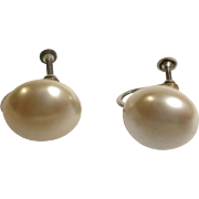 Vintage Faux Mabe Pearl Earrings