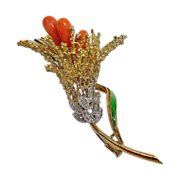 Vintage 18 K Gold, Coral, Enamel and Diamond Flower Brooch - Italy