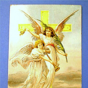 Antique Embossed Easter Greeting Postcard - Angels