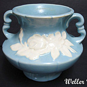 Vintage WELLER Blue Cameo Vase