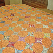 Antique  TWIN SIZE Hand Stitched Quilt - Orange American Handmade Quilt