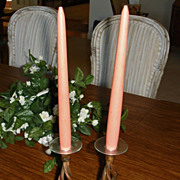 Vintage 1950's Store Display Wood Candles 12&quot; -  Wooden Coral Candles