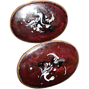 Vintage Copper Enamel Cuff Links - Huge Cufflinks
