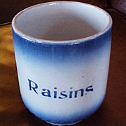 RARE Antique Blue Diffused Pottery Canister with Raisin Stencil - Ca. 1905 Blue Diffused Conta