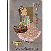 SALE Embossed Easter Holiday Greeting Postcard - early 1900