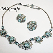 SALE HOLLYCRAFT Demi - Parure Jewelry - Vintage Rhinestone Necklace and Earrings Set