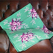 Vintage 1950's Cotton Tablecloth - Floral Kitchen Linens Made In California- Original CALAPRIN