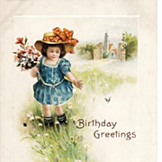 SALE Vintage Embossed Birthday Greetings Postcard 1916