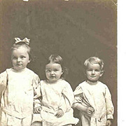 SALE Antique Real Photo Postcard - 3 Children