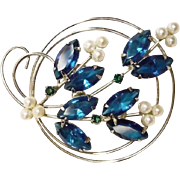 REDUCED Vintage  Blue Rhinestone Brooch - Vintage Rhinestone Jewelry