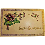 Vintage Embossed Easter Holiday Greetings Postcard - Art Deco Design Post Card