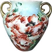 SALE Antique Large Hand Painted Poppies Porcelain Vase Jardinire Jardiniere