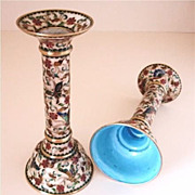 Pair of  Enameled Cloisonne Candlesticks - Vintage Candle Holders