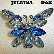 Vintage Juliana D&E Rhinestone Butterfly Brooch - Delizza and Elster Figural Brooch Pin - Deli