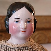 "All Original 14"" Pink Tint Covered Wagon China Doll 1850's"