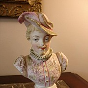 REDUCED Antique German Bisque Bust of Gentleman w/Feathered Hat