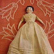 "REDUCED 7.5"" Antique German China Doll~Orange Tasseled Boots"