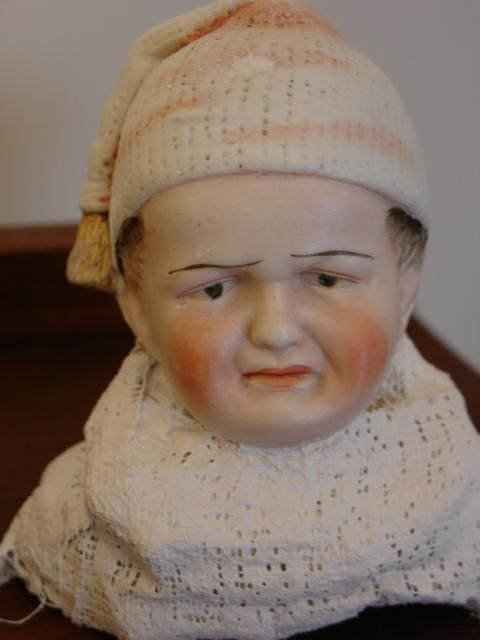 Rare Heubach Character Head~Scowling Child with Nightcap