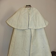 SALE Antique French Fashion Cream Wool Cape with Light Blue Silk Lining