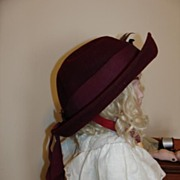 Cute Antique Neumann-Endler Burgandy Felt Child's Hat