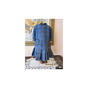 SALE Wonderful Civil War Era Girl's Blue/Black Plaid Dress
