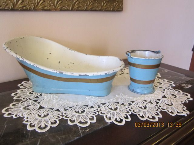 Antique Metal Tub and Bucket for French Fashion Doll