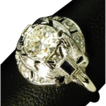 Old European Cut, Art Deco, Diamond and Sapphire Ring
