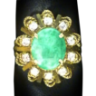 Natural Green Jade (Jadeite) Ring Set with 0.25ctw Diamonds in 18K Yellow Gold