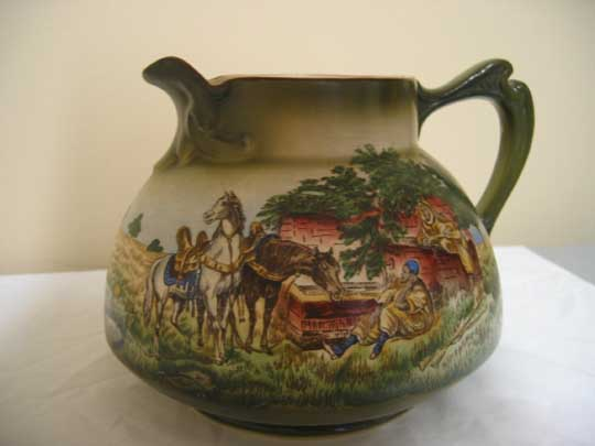 Antique Haynes Ware Cider Pitcher with Arabian Motif  ca.1900
