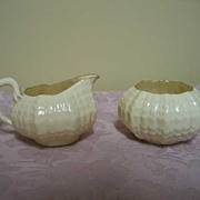 REDUCED Belleek Tridacna Sugar & Creamer 3rd Black Mark