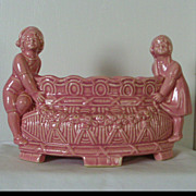 REDUCED Pink Majolica Planter with children figurines - Vintage