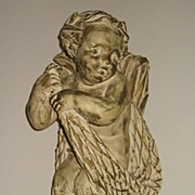 Antique Chalkware Mythological Rococo Cherub