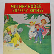 1943 Linen Mother Goose Nursery Rhymes Book * Jean Francis Illustrated