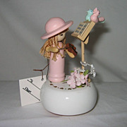 Lefton Wooden Musical Figurine of Little Girl with Violin