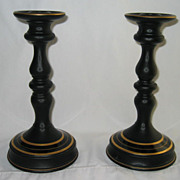 Rare Black Satin Glass Candlesticks - early 1930s