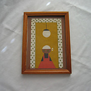 Mid-century Black Americana Framed Folk Cloth Art