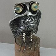 1969 Original C. Jere Molten Metal Owl Sculpture on Wooden Tree Stump