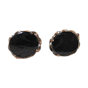 SALE Pretty Black Onyx & 1/20-12k GF, Screw-Back Earrings by WHITE CO.
