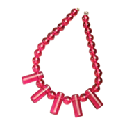 Deco Happening, Cherry Red Beads & Cylinders Necklace
