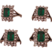 SALE SALE! $575.00 Exquisite, 14 Carat White Gold, Green Emerald Cut Tourmaline & Double Row o