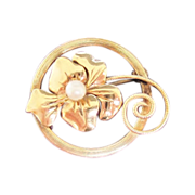 "Very Exquisite ""Amco"" 1/20, 12K Gold-Filled, Circle Cultured Pearl Pin"