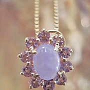 "REDUCED Pretty14KYG Lavendar Jade & Amethyst Pendant with/without 14K 16"" Box Chain **FRE"