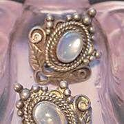 SALE Art Nouveau Ceylon Moonstone Earrings