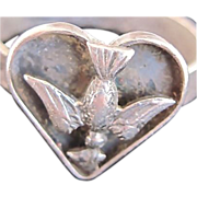 "SALE Antique ""Dove Bird Carrying Heart"" Ring"