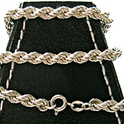 Heavy One OUNCE of Solid Sterling, Rope Necklace
