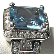 Wonderful Aquamarine and White Topaz Ring