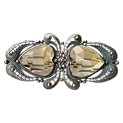 SALE Antique Silver Cannetille, Pale Yellow Topaz, Double Heart Brooch Pin **FREE INSURED SHIP