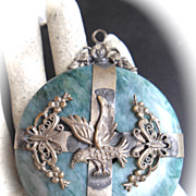 Older Large Amazonite Pendant with Raised Filigree Encased Design