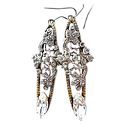 Vintage Diamante Paste LONG Pendant Earrings